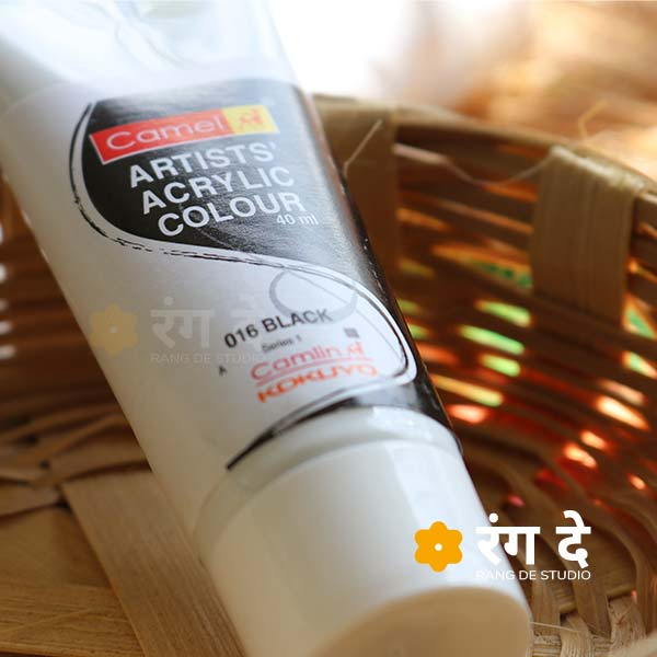 Buy Camlin Black Artists Acrylic Colours Online from Rang De Studio