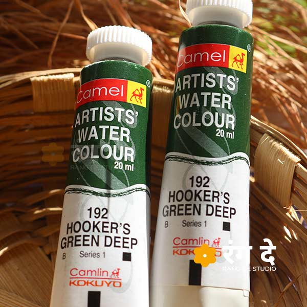 Buy Camlin Hookers Green Deep artist watercolour shade online from Rang De Studio