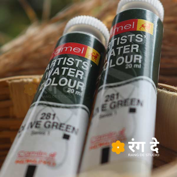 Buy Olive Green artist watercolour shade online from Rang De Studio