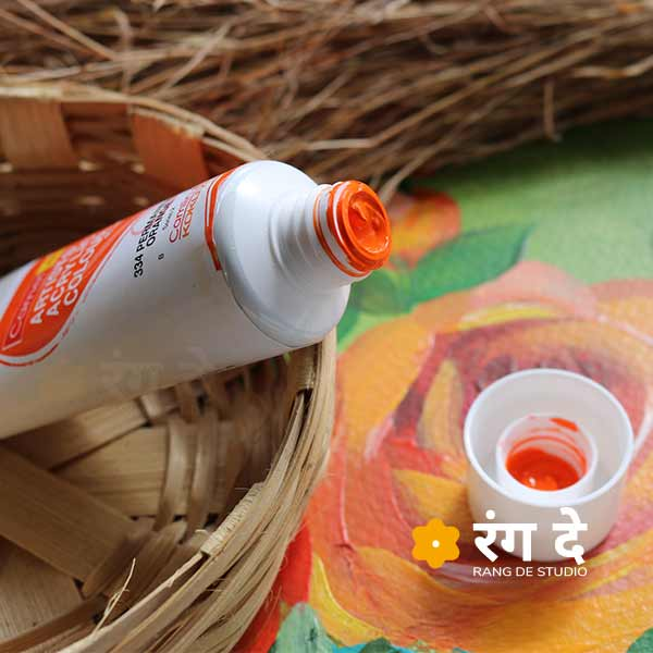 Buy Permanent Orange Artists Acrylic Colours Camlin Online from Rang De Studio