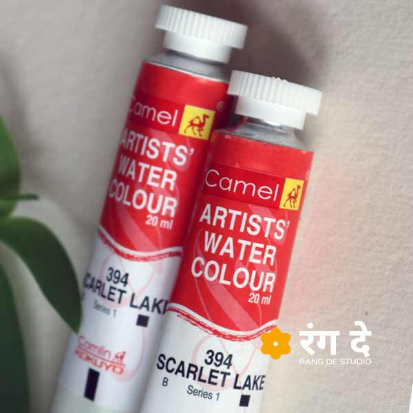 Shop camlin watercolour scarlet lake 20ml tubes online from Rang De Studio