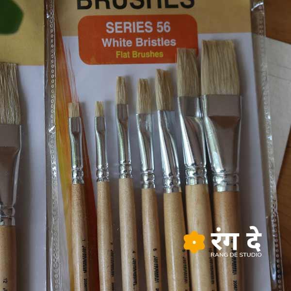Buy White Bristle brush set - Flat - 7 Nos, Camlin online