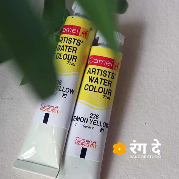 Buy camlin watercolour lemon yellow 20ml tubes online from Rang De Studio