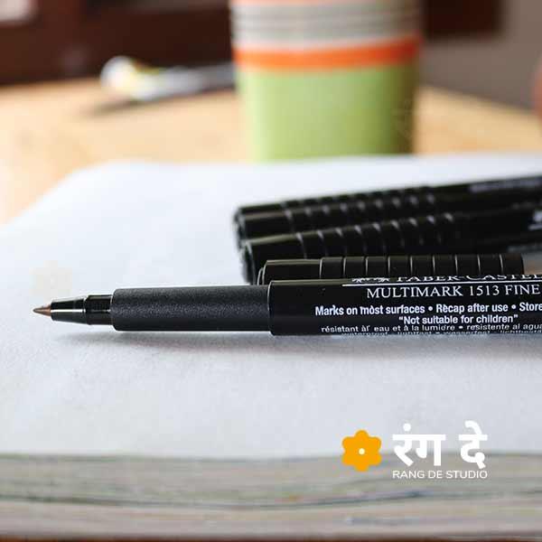 Buy original Faber Castell Multimark Fine 0.8mm pens online from Rang De Studio, Free Delivery over INR 1500