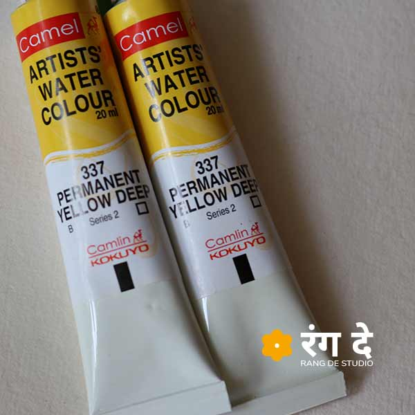 Shop camlin watercolour permanent yellow 20ml tubes online from Rang De Studio