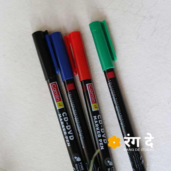 Camlin CD DVD Marker Pen Set, Red, Green, Blue, Black Buy online from Rang De Studio