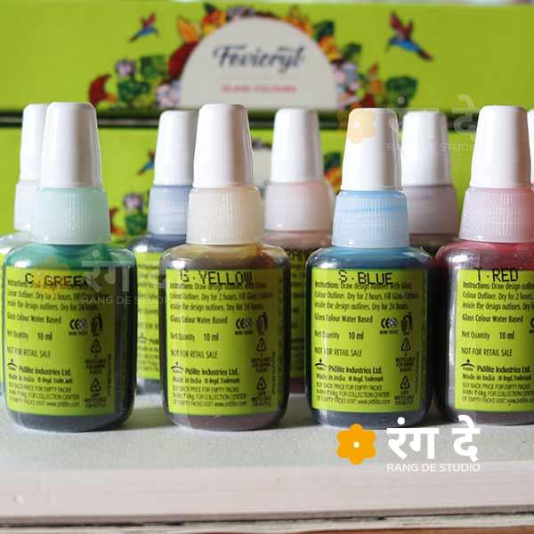 Buy Fevicryl Glass Colours set online from Rang De Studio